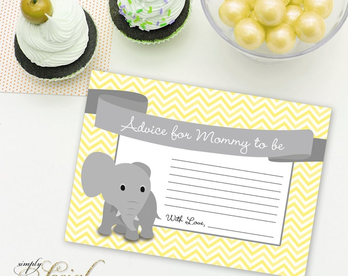 INSTANT DOWNLOAD Elephant Baby Shower Advice for Mommy to be insert Yellow Chevron PRINTABLE