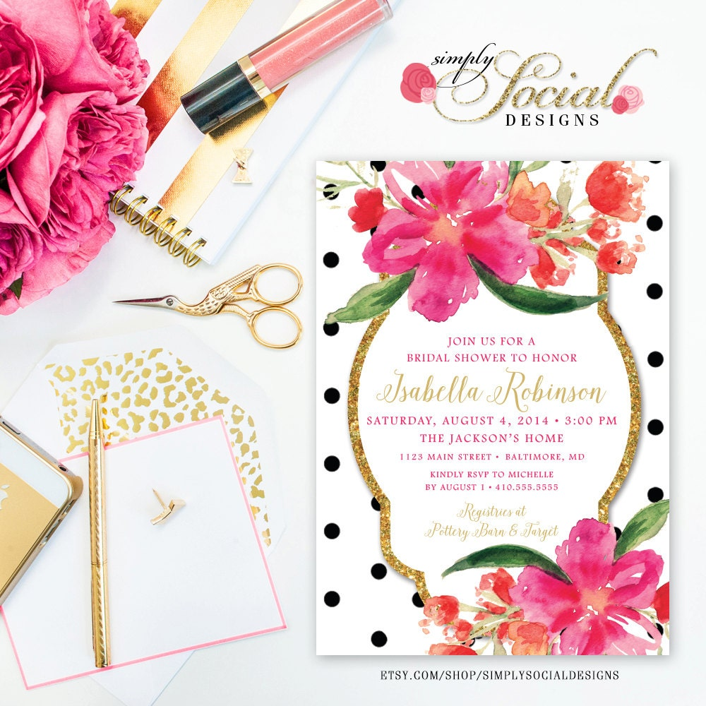 Floral bridal shower invitation faux glitter glam hot pink floral bridal shower invitation faux glitter glam hot pink watercolor flowers black and white polka dots bridal shower printable filmwisefo