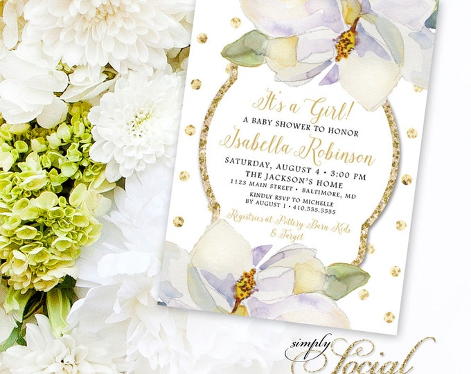 Magnolia Baby Shower Invite - Flowers White flowers and Gold Polka Dots Baby Shower Invitation It's a Girl Printable
