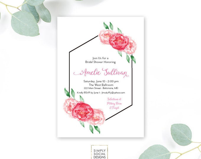 Pink Floral Bridal Shower Invitation - Pink Peony Ranunculus Geometric Watercolor Floral Boho Shower Invitation Printable