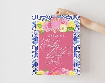 Lemon and Blue Tile Floral Bridal Shower Welcome Sign