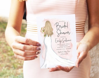 Blonde Bride in a Gown Pink Watercolor Bridal Shower Invitation