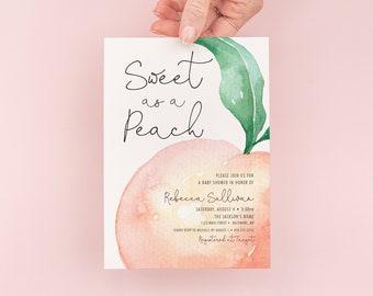 Sweet as a Peach Baby Shower Invitation, Georgia Peach Invite, Peach Bridal Shower Invite, Sweet Peach Invitation