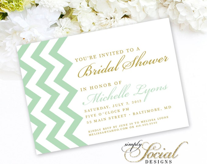 Chevron Mint and Gold Bridal Shower Baby Shower Invitation