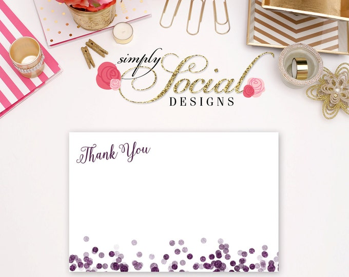INSTANT DOWNLOAD Printable Glitter Glam Purple Confetti Thank You Card