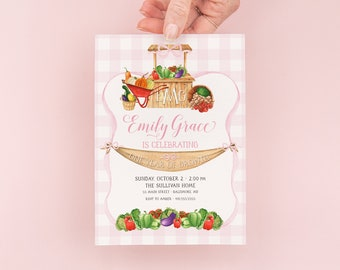 Farmers' Market First Birthday Invitations - Preppy Pink Monogram Farmers Market Invites - Gingham Bow Party - Fall Birthday Party