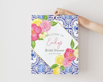 Tuscan Lemon and Fuschia Floral Blue and White Tile Bridal Shower Welcome Sign