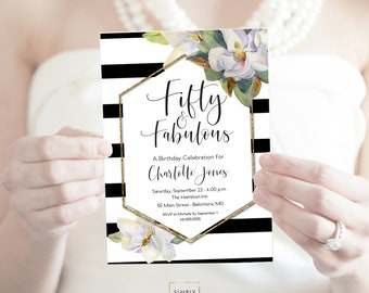 Magnolia Birthday Party Invitation 60th 50th 40th Birthday Party Invitation White Flower Fifty and Fabulous Forty and Fabulous PRINTABLE