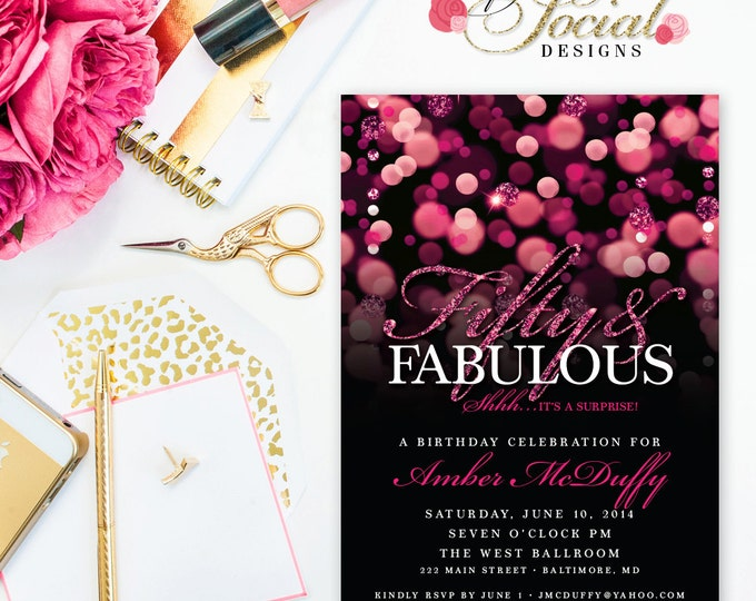 Surprise 50th Birthday Party Invitation with Hot Pink Glitter Bokeh Fifty and Fabulous PRINTABLE