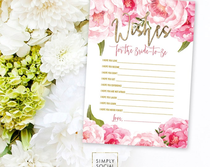 INSTANT DOWNLOAD Wishes for Bride to Be Party Printable - Pink Peony Ranunculus and Faux Gold Foil Watercolor Floral Boho Shower DIY