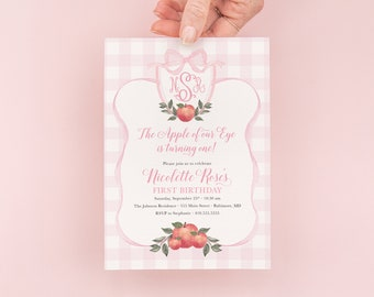 Apple First Birthday Invitation - Preppy Pink Monogram - Apple Watercolor Crest - Gingham Bow Party - Apple of Our Eye - Apple Picking