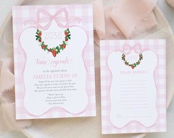 Time Capsule Strawberry First Birthday Party - Preppy Pink Strawberry - Watercolor Crest - Gingham Bow First Birthday Party - Berry Sweet