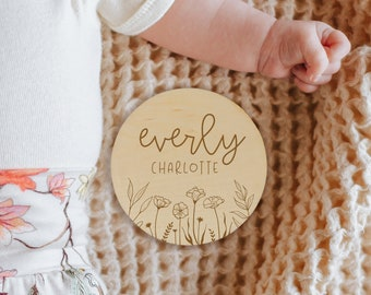 Wildflower Custom Baby Name Sign, Wooden Newborn Name Photo Prop, Personalized Name Sign, Baby Name Reveal Sign, Wood Baby Name Announcement