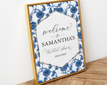 Blue and White Chinoiserie Ginger Jar Bridal Shower Welcome Sign