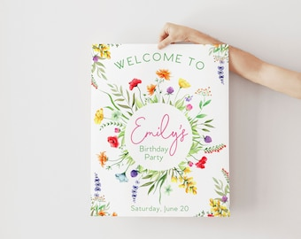 Wildflower Birthday Party Welcome Sign - Our Little Wildflower - Wildflower Garden Welcome Sign - Flower Party Sign - Birthday Sign