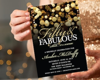 Surprise 50th Birthday Invitation for woman with Gold Glitter Bokeh, Fifty and Fabulous PRINTABLE