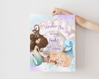 Mermaid Birthday Party Welcome Sign - Under the Sea