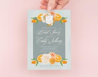 Citrus Bridal Shower Invitation  - Monogram Crest Bridal Invite -  Summer Citrus Bridal Brunch - Orange Bridal Shower
