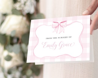 Preppy Pink Gingham Bow Thank You Notes