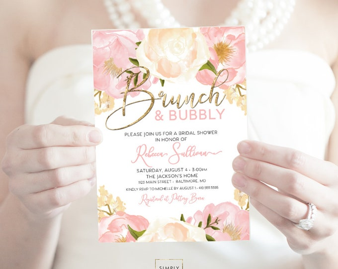 Peony Bridal Shower Invitation - Brunch and Bubbly - Champagne Bridal Shower - Peony Flowers Blush Pink Faux Gold Foil Invitation Printable