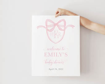 Preppy Monogram Pink Baby Shower Welcome Sign - First Birthday Welcome Sign