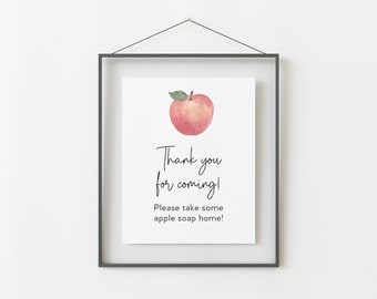 Thank you Sign for Apple Themed Baby Shower - Printable 8x10 INSTANT DOWNLOAD