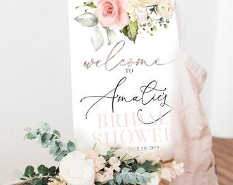 Pink Floral Bridal Shower Welcome Sign