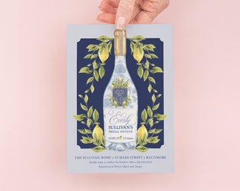 Chinoiserie Bridal Shower Invitation - Painted Champagne Bottle - Bridal Brunch - Brunch and Bubbly - Bridal Luncheon - Bridesmaids Lunch