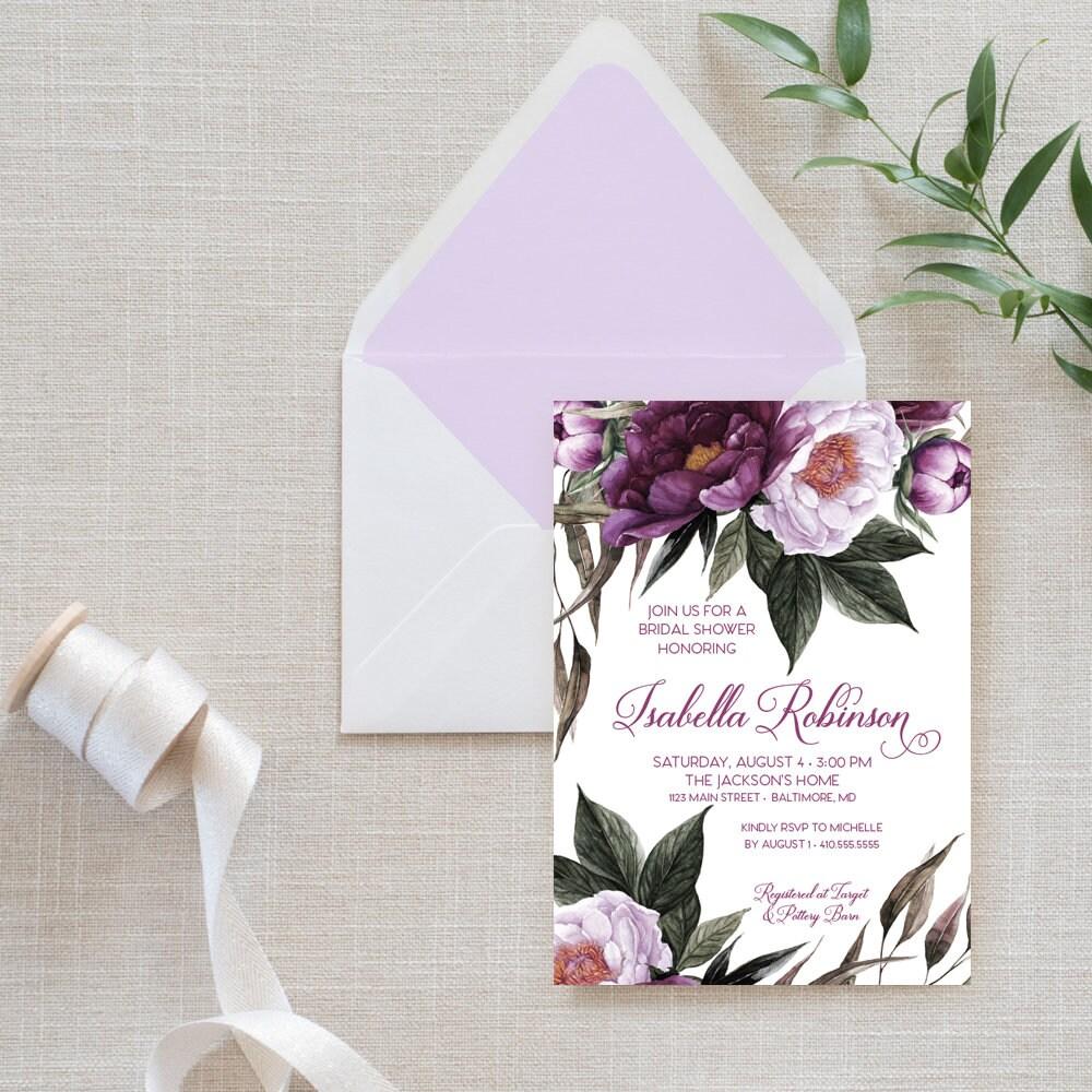 c122946fa370 Purple Floral Bridal Shower Invitation - Greenery Purple Peonie ...
