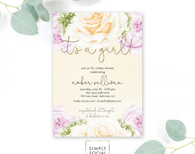 Purple Floral Baby Shower Invitation - Floral Rose Peony Lilac Faux Gold Foil Boho Hydrangea Watercolor It's a Girl Printable Invite
