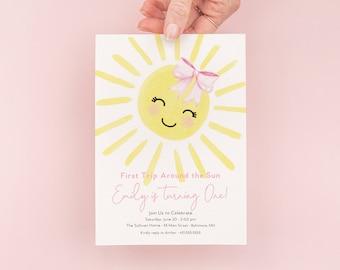 First Trip Around the Sun Birthday Invitation - Sunshine 1st Birthday Invite - Birthday Girl - Our Little Sunshine - My Sunshine Girl Pink