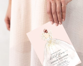 Red Hair Bride in a Dress Bridal Shower Invitation