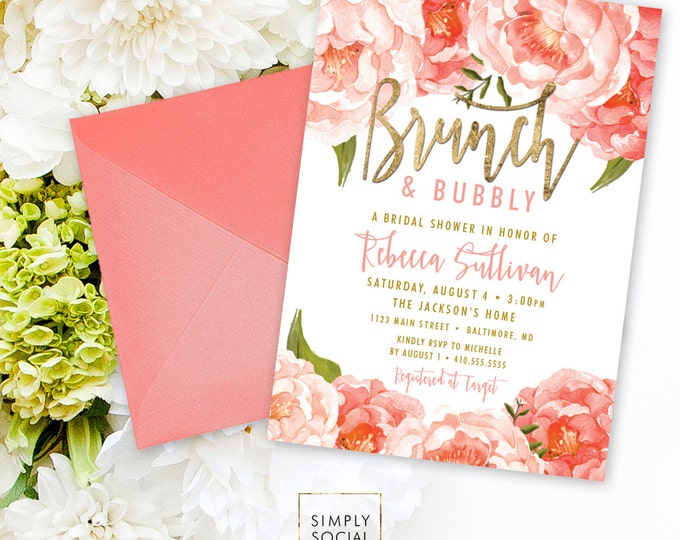 Brunch and Bubbly Bridal Shower Invitation - Peach Peony Ranunculus and Faux Gold Foil Watercolor Floral Boho Shower Invitation Printable