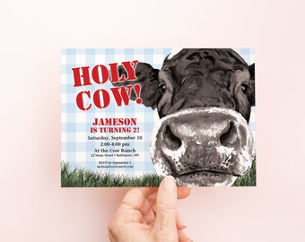 Holy Cow - Blue Gingham Boy First Birthday Party Invitation