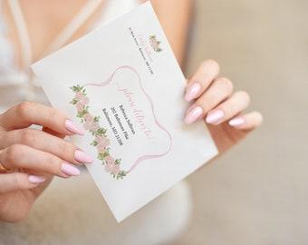 Preppy Pink Bow  Birthday Party Printed Envelopes