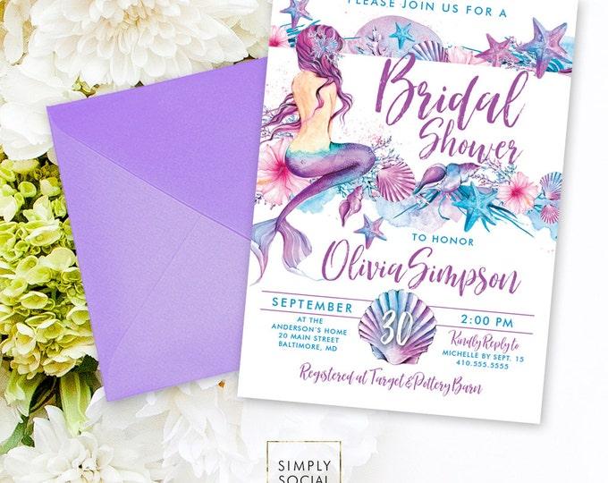 Mermaid Bridal Shower Invitation - Under the Sea Seashell Starfish Coral Boho Beach Bridal Shower Invitation Purple and Aqua Watercolor