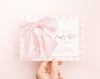 Bow First Birthday Party Invitations, Preppy Pink Gingham Invites, A Little Cake, A lot of Fun, Monogrammed Bow, Bow Monogram