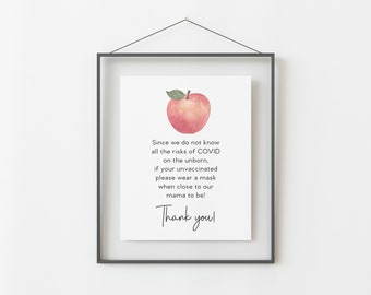 Wear a Mask Sign for Apple Themed Baby Shower - Printable 8x10 INSTANT DOWNLOAD