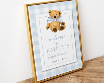 Preppy Gingham Blue Teddy Bear Baby Shower Welcome Sign