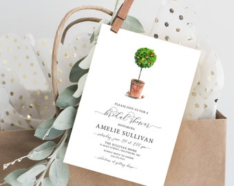 Orange Tree Bridal Shower Invitation - Orange Blossom - Modern Calligraphy Printable Baby Shower - Kitchen Shower Southern Florida