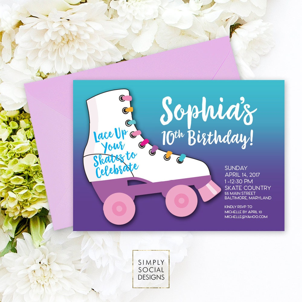 Roller Skating Birthday Party Invitation Purple Kids Printable