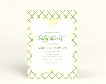 Preppy Yellow and Green Trellis Bow Gender Neutral Baby Shower Invitation