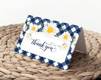 Navy Gingham Thank You Notes - Blue Gingham Cards - Baby Shower Thank You Notes - Bridal Shower Thank You Cards