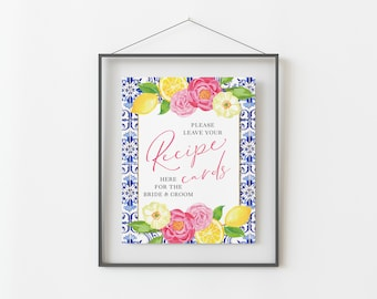Recipe Sign for Lemon Themed Bridal Shower - Printable 8x10 INSTANT DOWNLOAD