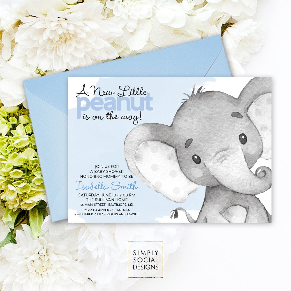 Blue Elephant Baby Shower Invitation It S A Boy