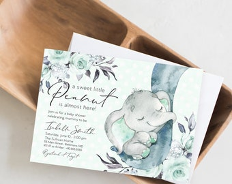Mint Elephant Floral Baby Shower Invitation - Mint Flowers - Little Peanut - Peony Roses Greenery Invitation Watercolor Gender Neutral