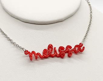 Acrylic Name Necklace, Personalized Nameplate Necklace, Bridesmaid Gift, Wedding Gift, Gift for Her, Gift for Friend