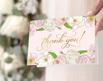Pink Peony Thank You Notes