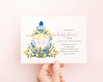 Preppy Watercolor Crest, Bow Monogram, Ginger Jar, Lemon Ginger Jar, Chinoiserie Bridal Shower, Baby Shower Invitation