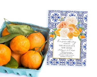 Orange Blossom Housewarming Party Invitation - Portuguese tile Floral and Citrus Invitation
